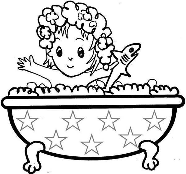 Little Girl Take A Bath With Shark Doll Coloring Pages