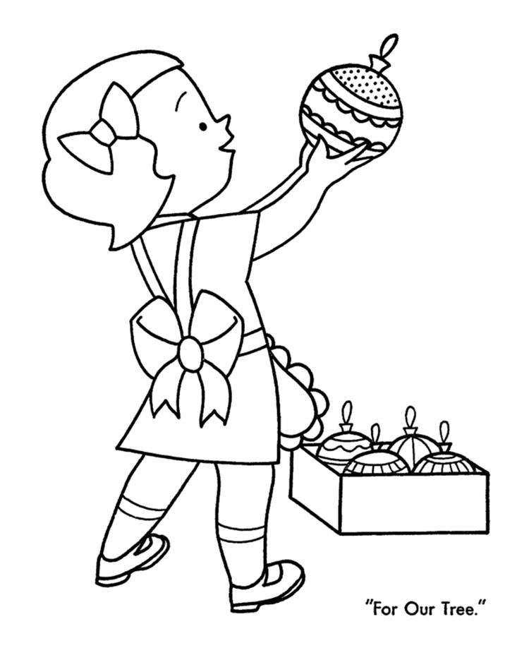 Little Girl With Ornaments For Christmas Coloring Page