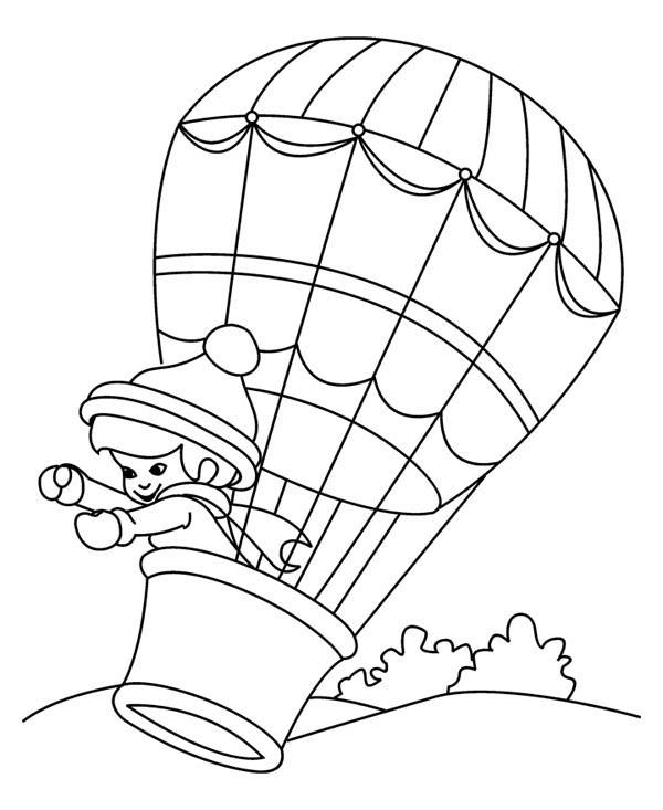 Little Kid On Hot Air Balloon Coloring Pages