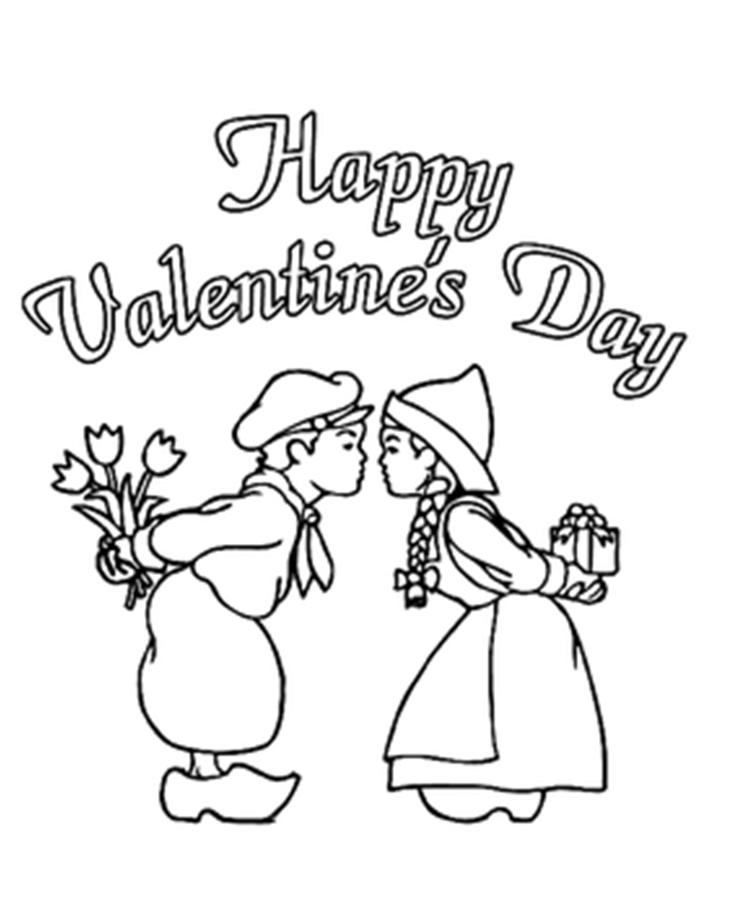 Little Kiss Valentines Day Coloring Pages