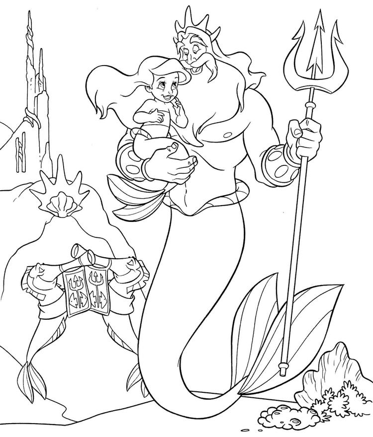 Little Mermaid Coloring Pages Ariel King Triton