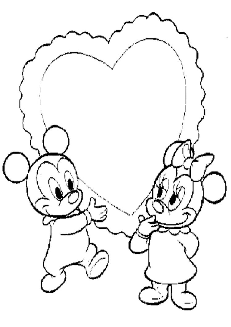 Little Mickey And Minnie Valentine Coloring Page