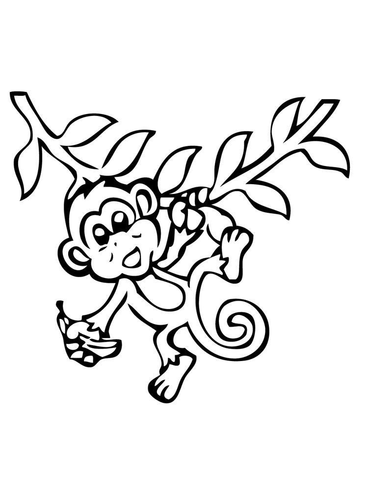 Little Monkey Coloring Pages Hanging On Tree