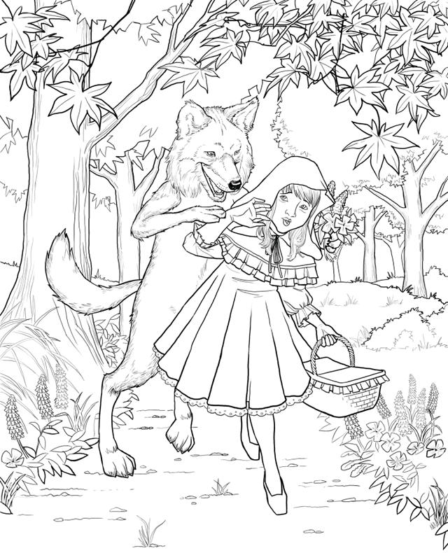 Little Red Riding Hood Sacred By Peter Coloring Page Illustration