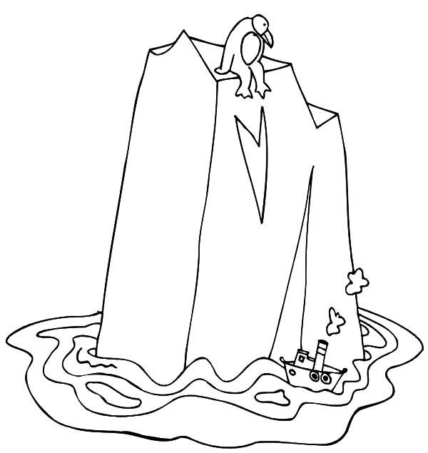 Little Ship And Gigantic Iceberg Coloring Pages