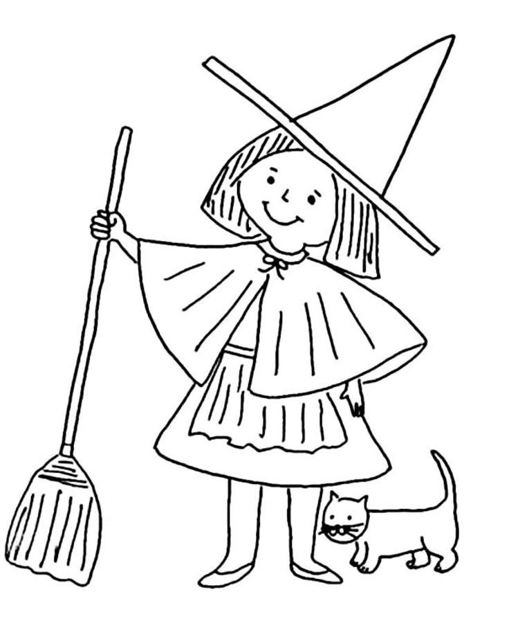 Little Witch Coloring Pages With Cat