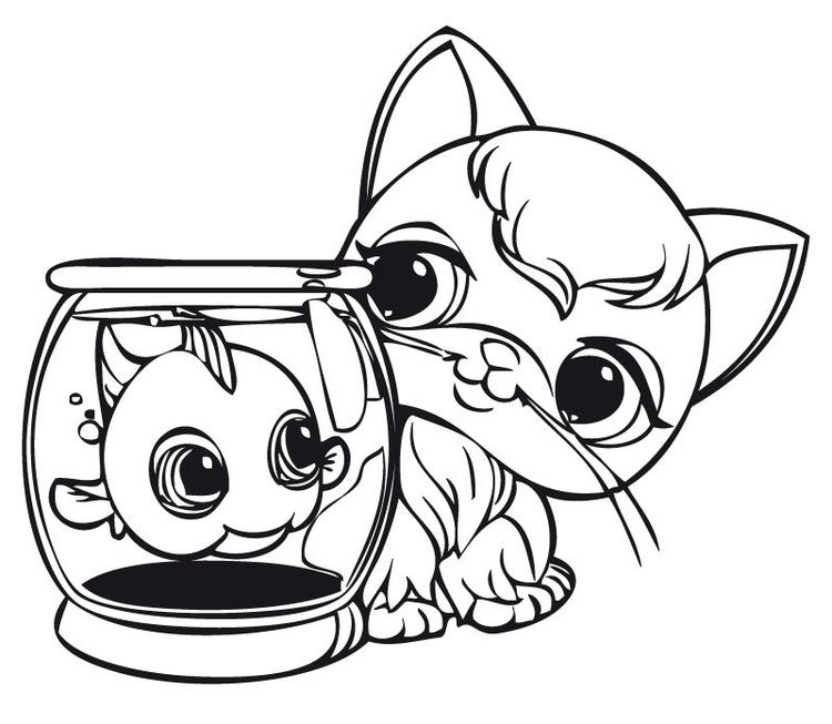 Littlest Pet Shop Coloring Pages Fish And Kitten