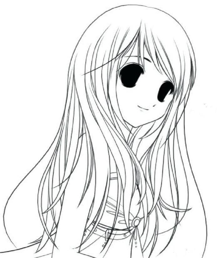 Long Hair Coloring Pages For Girl