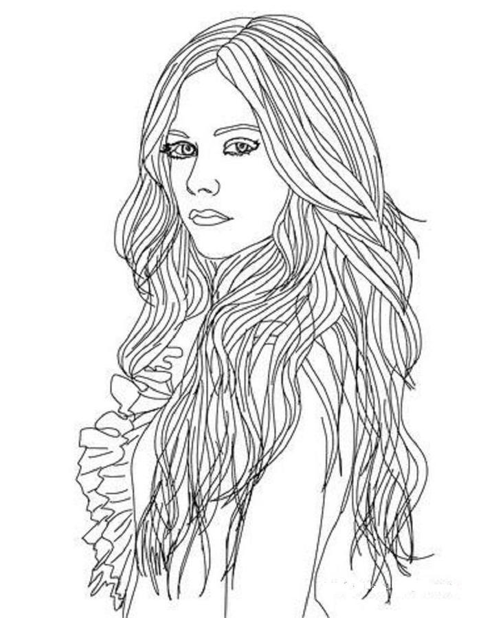 Long Hair Coloring Pages