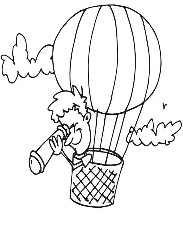 Looking Down Using Telescope On Hot Air Balloon Coloring Pages