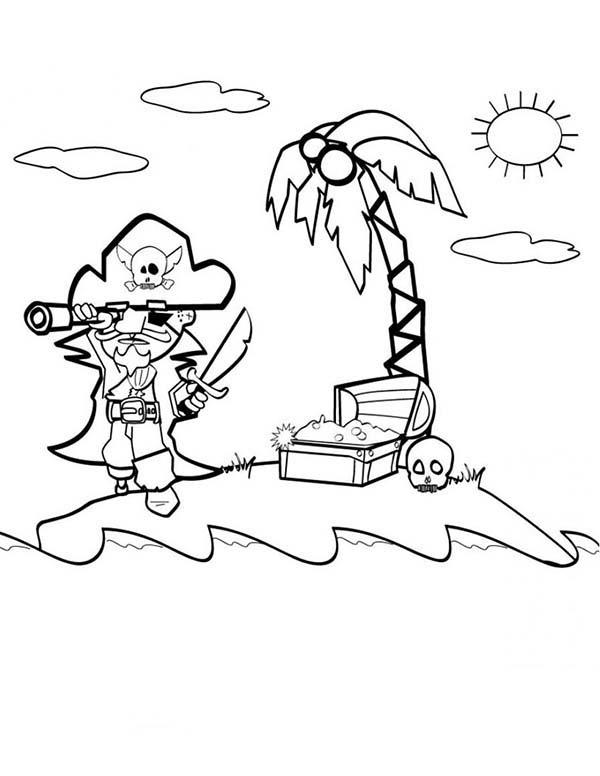 Looking For Pirate Treasure Coloring Pages