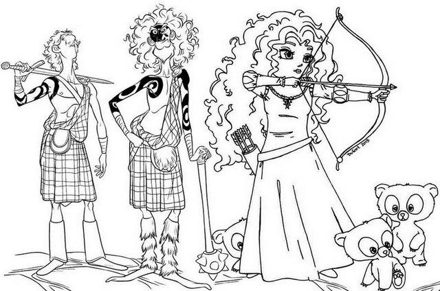 Lord Macintosh His Athletic Son And Merida From Brave Coloring Page