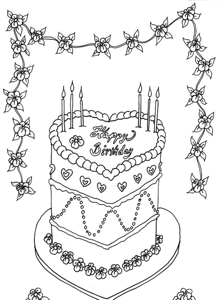 Love Birthday Cake Coloring Page