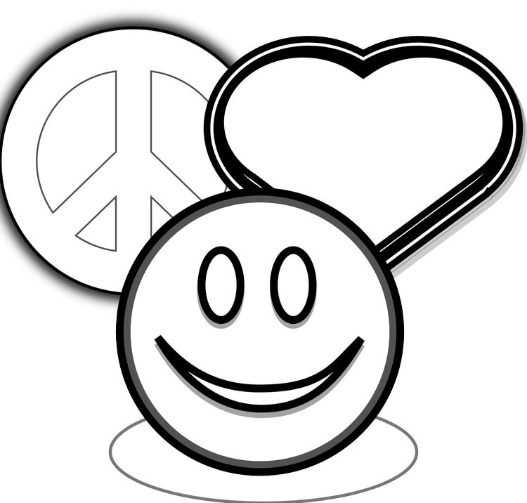 Love Coloring Pages Peace Smiley