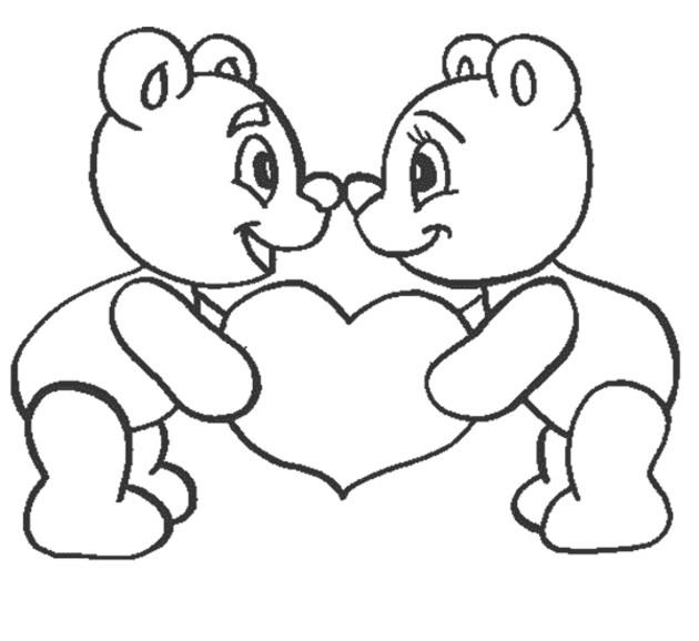 Love Coloring Pages Teddy Bear In Love