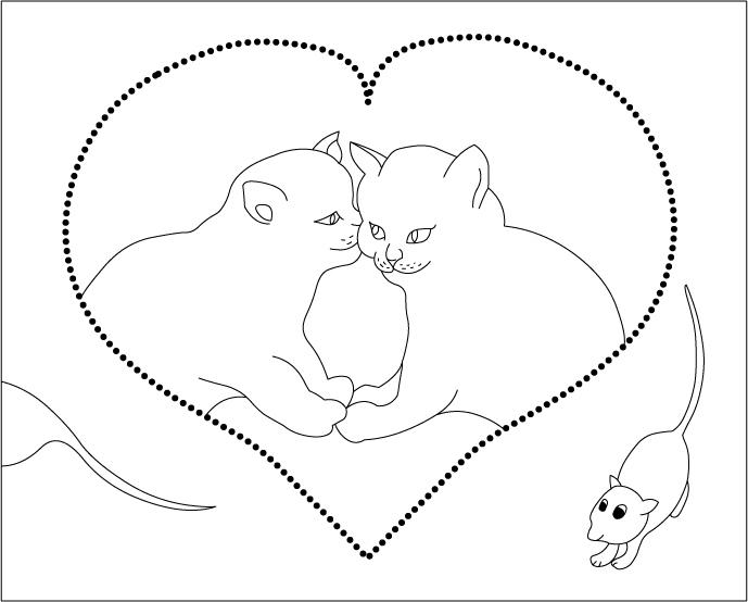Love Dog And Cat Coloring Pages