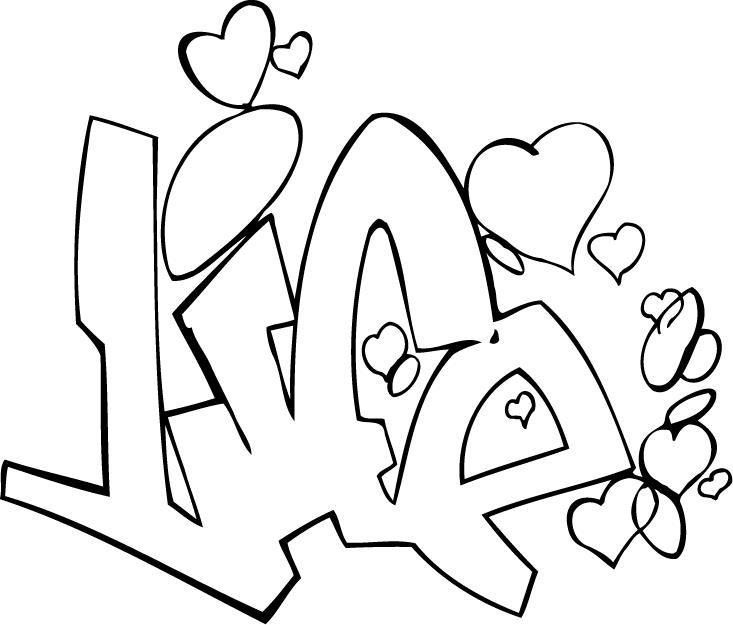 Love Graffiti Coloring Pages Coloring Pages