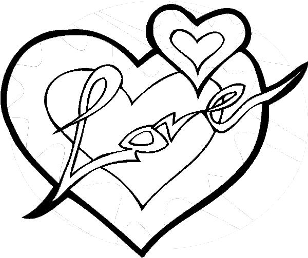 Love Heart Coloring Pages For Valentines Day
