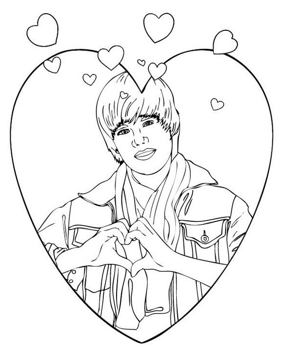Love Justin Bieber Coloring Pictures Celebrity And Singer Coloring Sheet