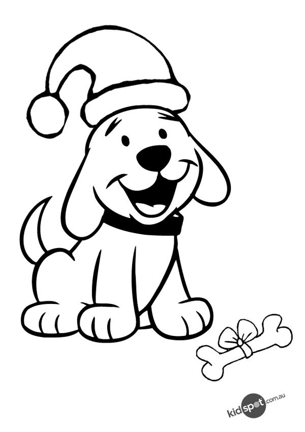 Lovely Christmas Dog Coloring Pages