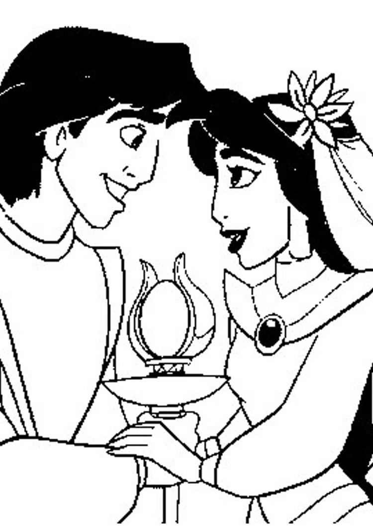 Lovely Jasmine And Aladdin Coloring Pages 1