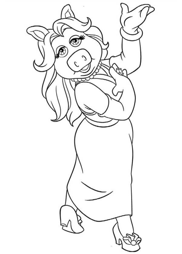 Lovely Miss Piggy From The Muppets Coloring Pages