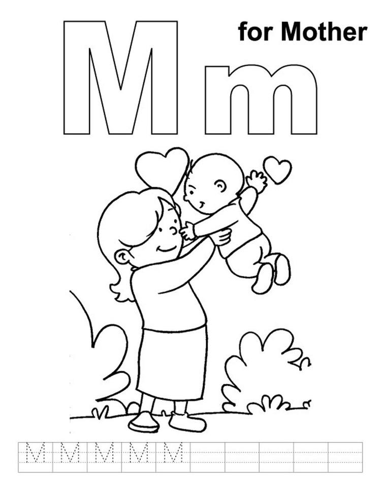 Lovely Mother Free Alphabet Coloring Pages