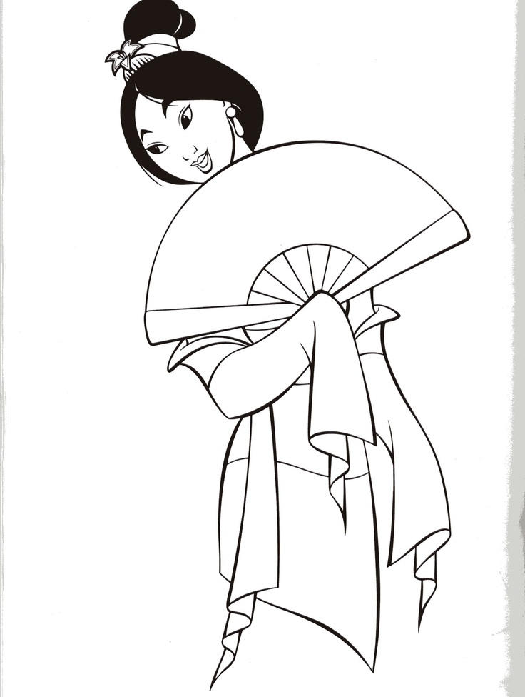 Lovely Mulan Dress Coloring Pages