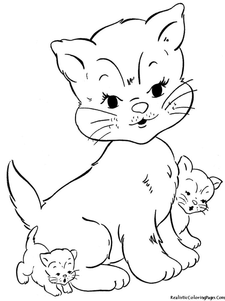 Lovely Realistic Cat Coloring Pages
