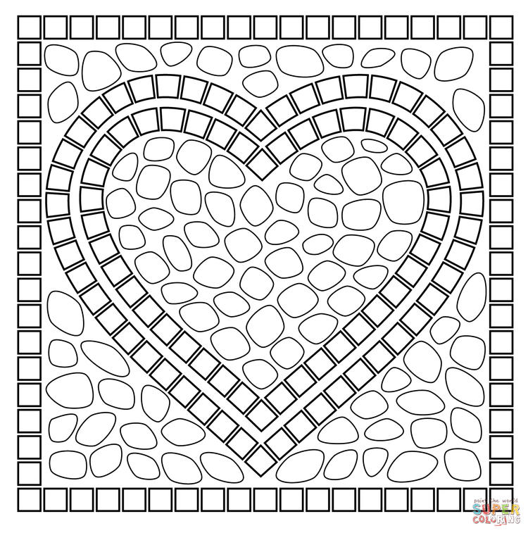 Lovely Simple Mosaic Coloring Pages