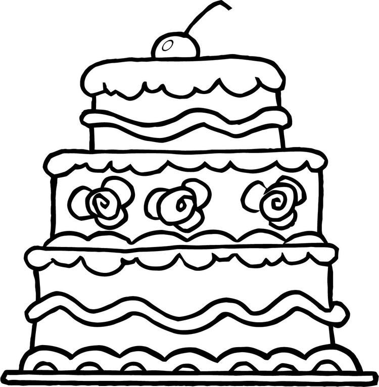 Lovely Wedding Cake Coloring Pages