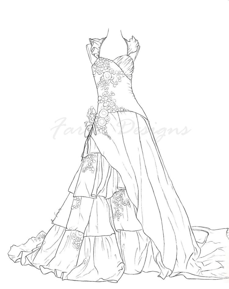 Lovely Wedding Dress Coloring Pages