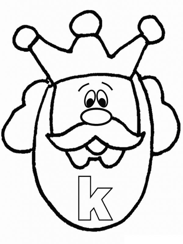 Lower Case Letter K For King Coloring Page