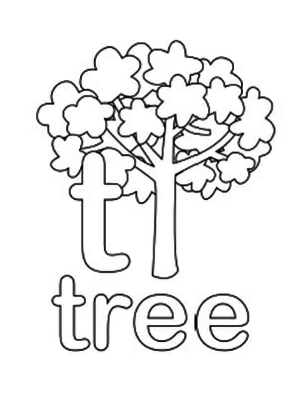 Lower Case Letter T For Tree Coloring Page
