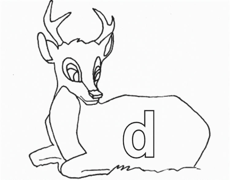 Lowercase D For Deer Printable Alphabet Coloring Pages