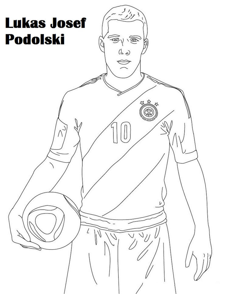 Lukas Josef Podolskii Coloring Soccer Player Drawing Page