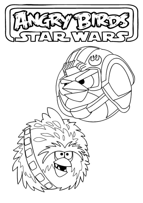 Luke Skywalker And Chewbacca Angry Bird Star Wars Coloring Pages