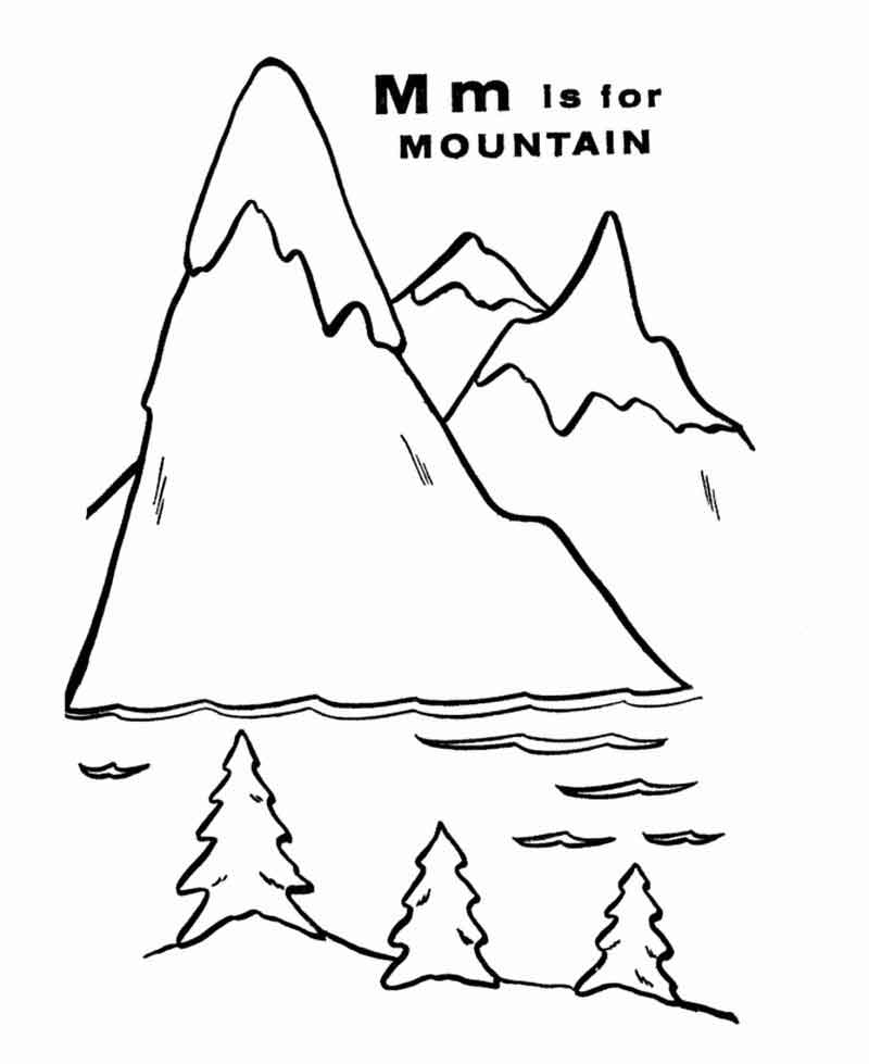 M Is For Mountain Coloring Worksheet