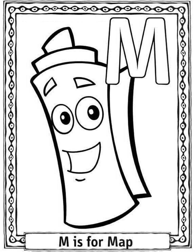M Is For Map Free Alphabet Coloring Pages
