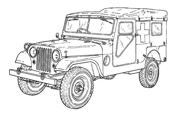 M170 Ambulance Army Car Coloring Pages1