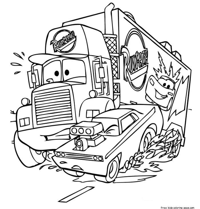 Mack Car 2 Printbale Coloring Pages Disney