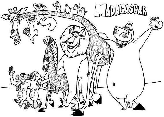 Madagascar Characters Coloring Pages