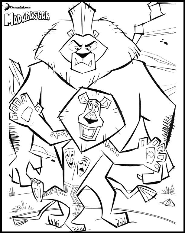 Madagascar Coloring And Drawing Page