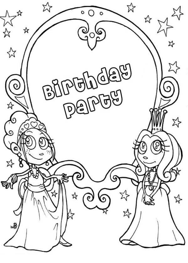 Magic Mirror At Birthday Party In Princesses Birthday Coloring Pages