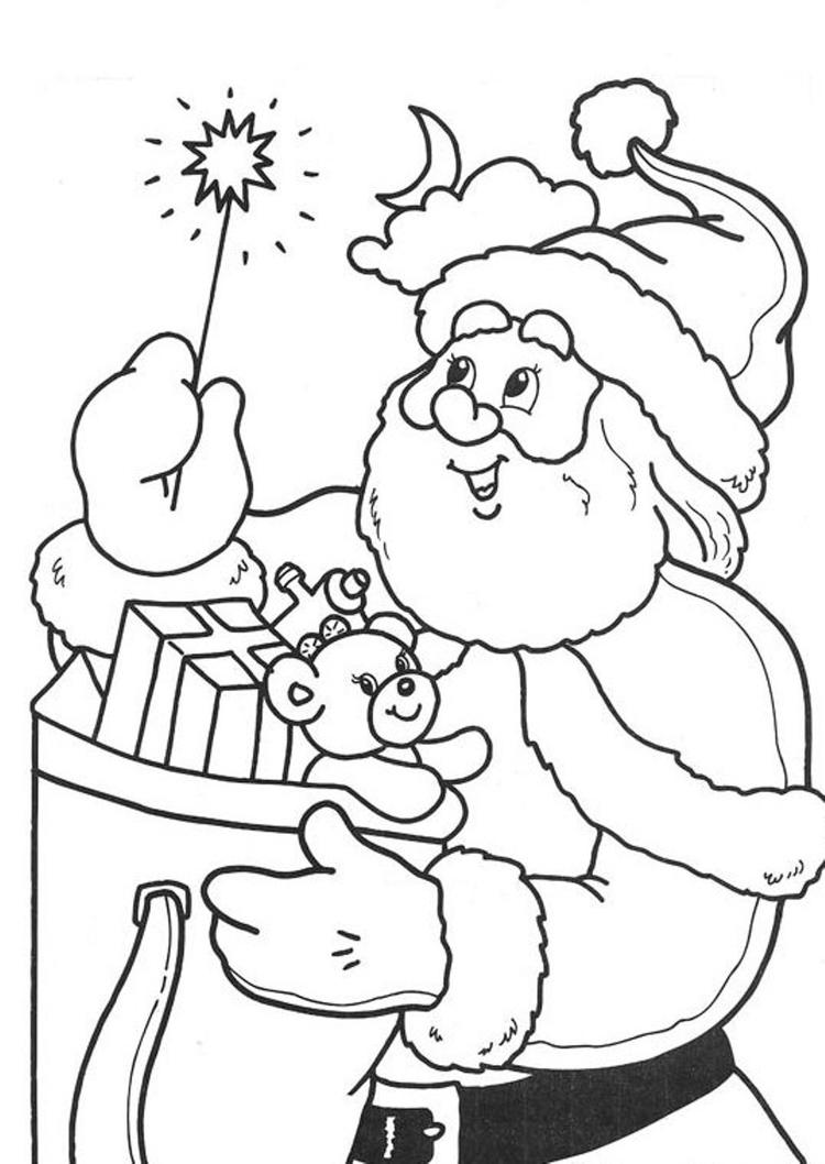 Magic Stick Santa Coloring Pages For Kids Printable