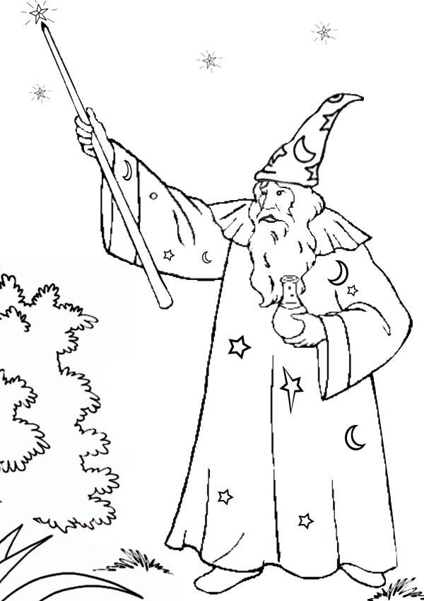 Magic Wand Of Merlin The Wizard Coloring Pages