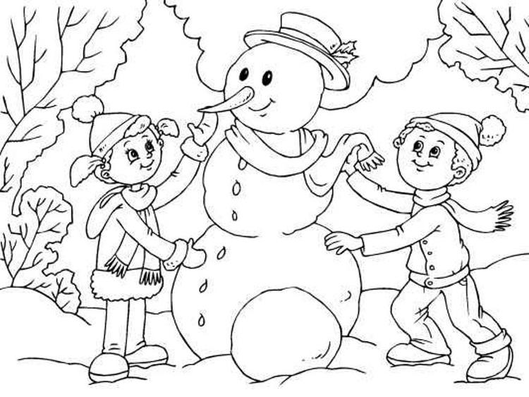 Making Snowman Coloring Page For Kids