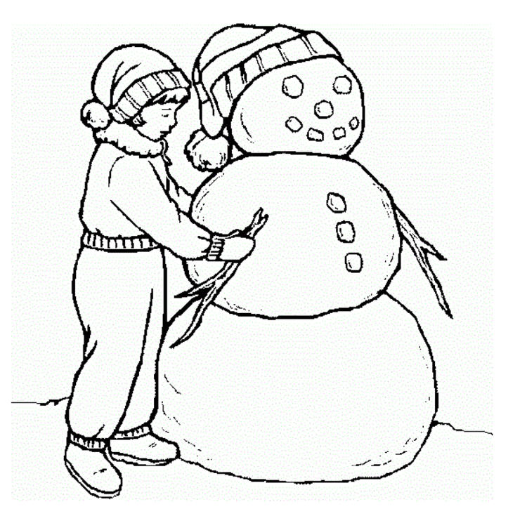 Making Snowman In Winter Coloring Pages Printables