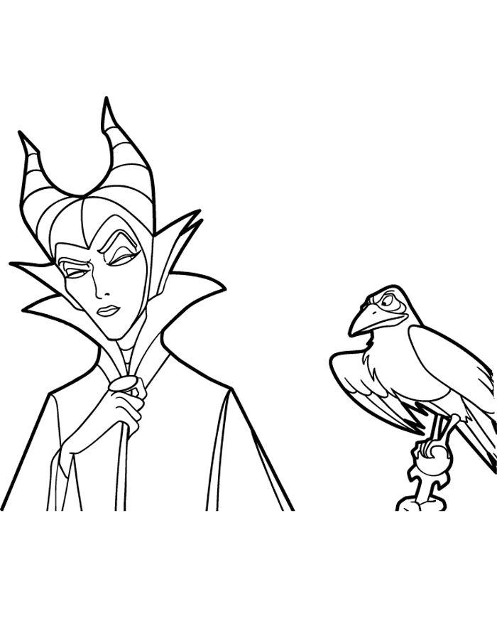 Maleficent Coloring Pages And Crow