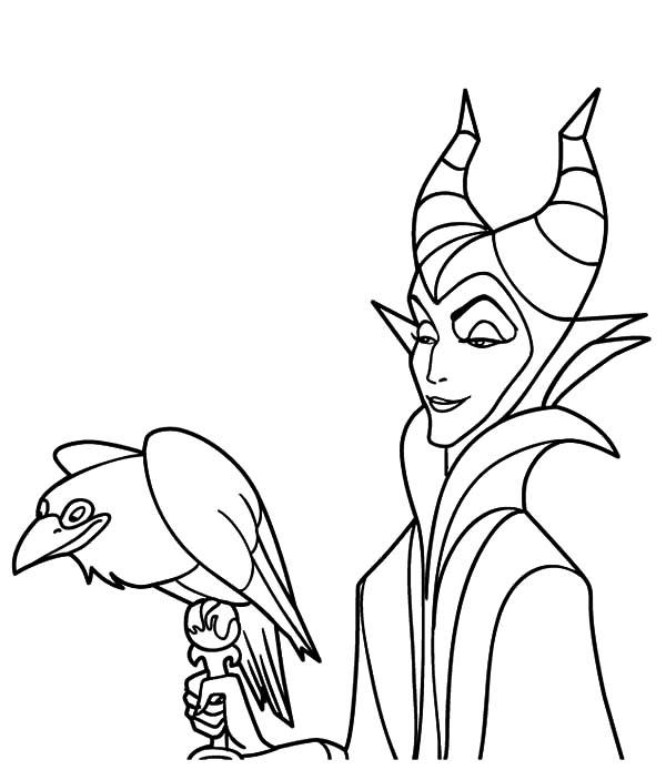 Maleficent Coloring Pages With Crow